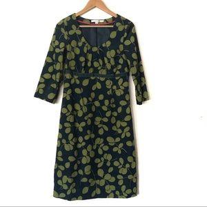 Boden Corduroy Green Leafs Print Dress Size 6L